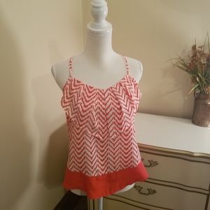 Flowing and Ruffled Red and White Pattern Tank Top